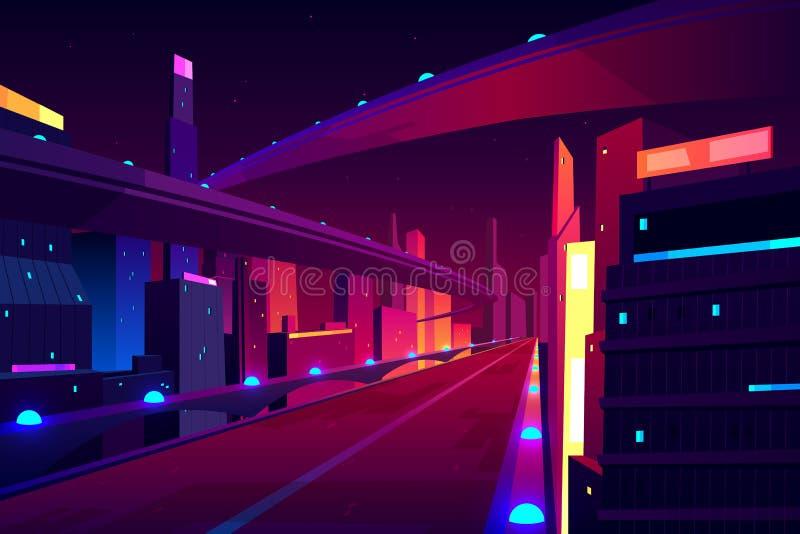 Дорога города ночи, пустое шоссе скоростного шоссе streetscape иллюстрация штока