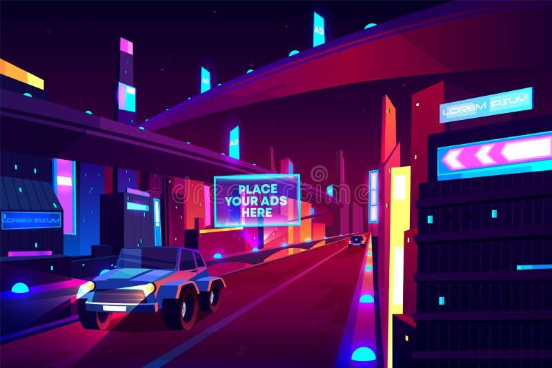 Дорога города ночи с двигая знаменем автомобилей, скоростной дорогой иллюстрация штока
