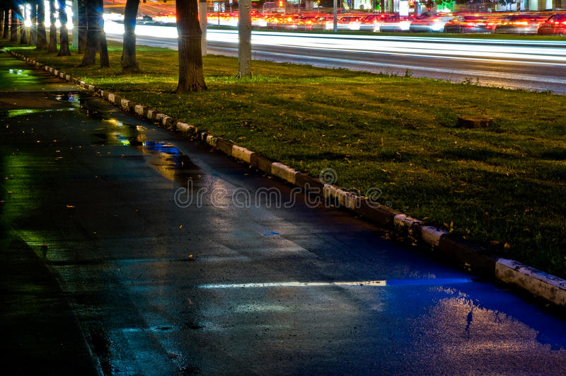 Дорога города ночи стоковое фото rf