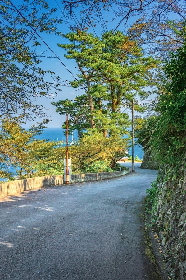 Дорога горы на взморье около города Atami стоковое фото rf