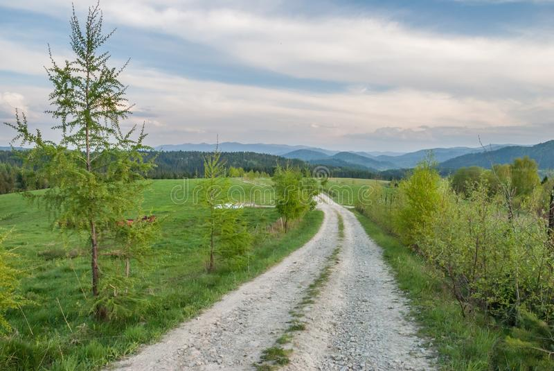 Download Дорога гравия в горах Bieszczady Стоковое Фото - изображение насчитывающей сценарно, от: 40586200