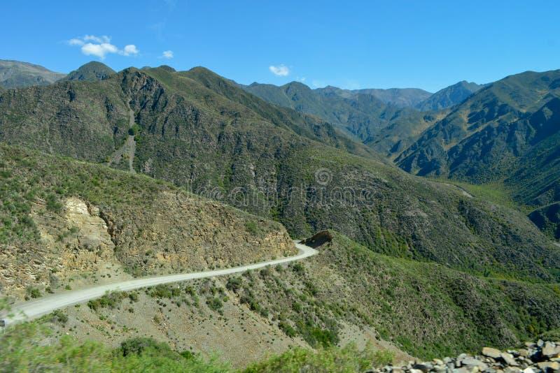 Дорога зеленого водохранилища в горах: пустой маршрут стоковые фотографии rf