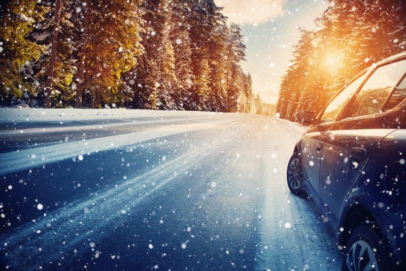 Дорога зимы в утре стоковые фотографии rf