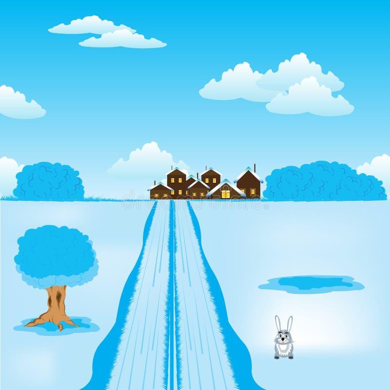Дорога зимы, котор нужно установить иллюстрация штока