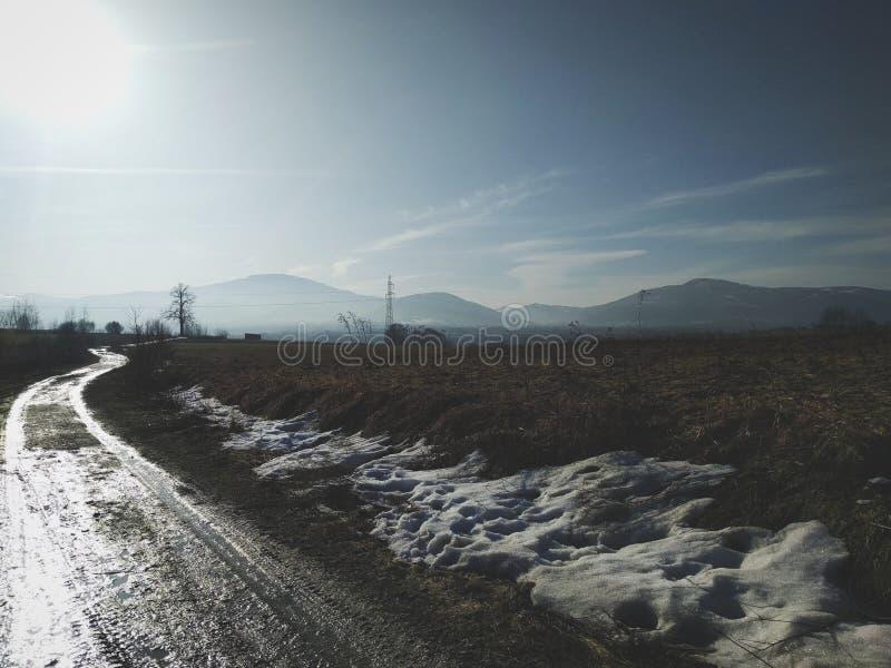 Дорога зимы сельской местности стоковое изображение rf