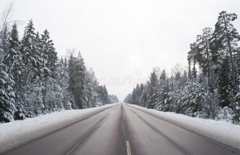 Дорога зимы Snowy стоковая фотография rf