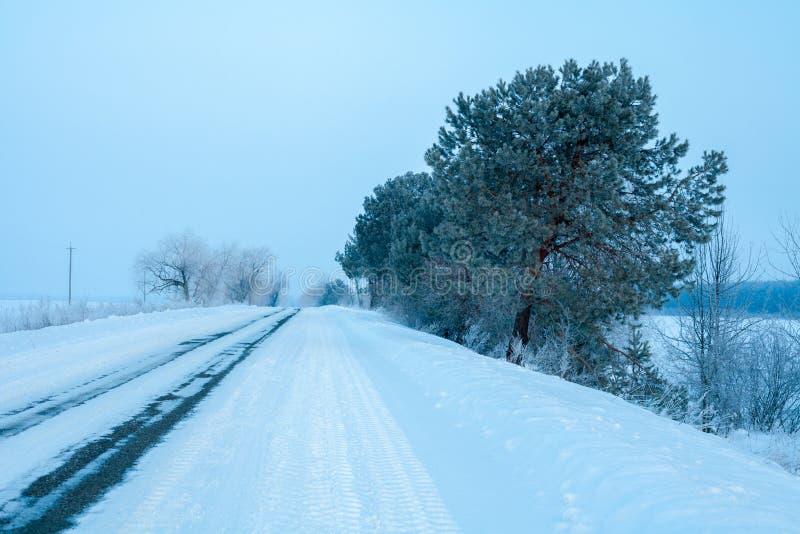 Дорога зимы Snowy стоковое фото rf