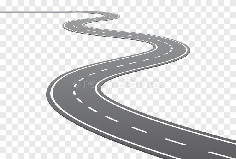 Дорога изогнутая вектором с белыми линиями иллюстрация вектора