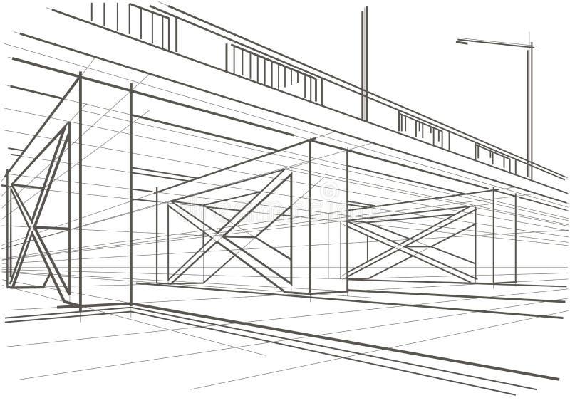 Дорога линейного архитектурноакустического эскиза надземная иллюстрация штока