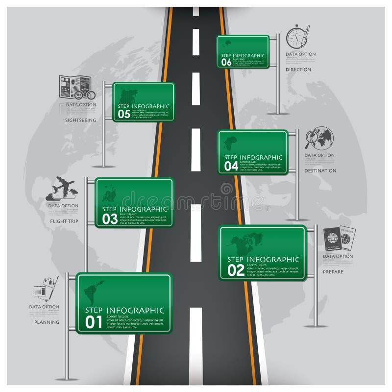 Дорога и деловые поездки Infographic знака уличного движения иллюстрация вектора