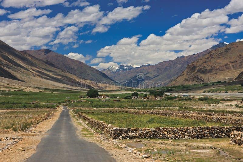 Дорога и поля в Zanskar стоковая фотография rf