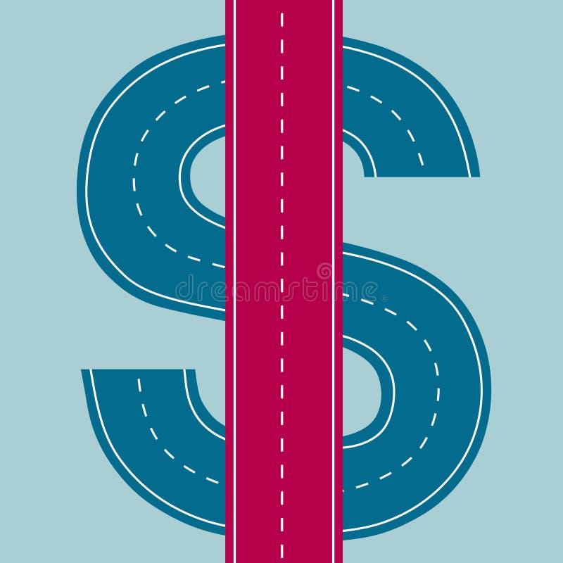 Дорога к богатству, финансовому дизайну концепции иллюстрация вектора