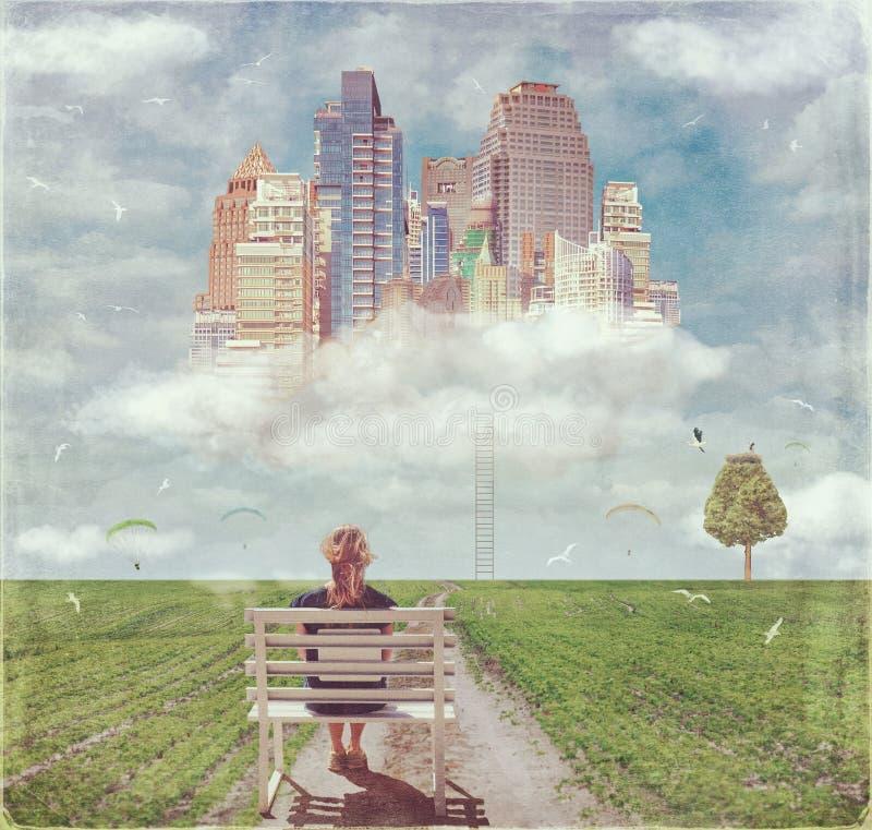 Дорога к будущему городу на облаке иллюстрация вектора