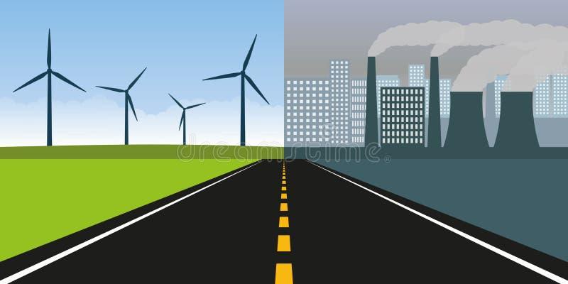 Дорога к городу с загрязнением индустрией и чистой природе с энергией ветра бесплатная иллюстрация