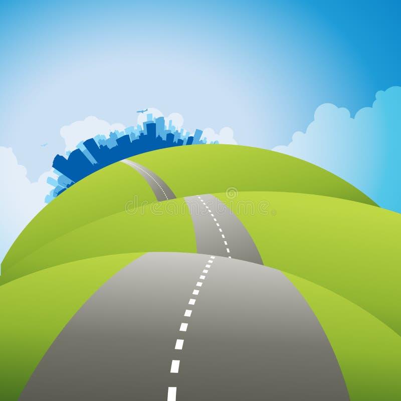 Дорога к городу иллюстрация штока