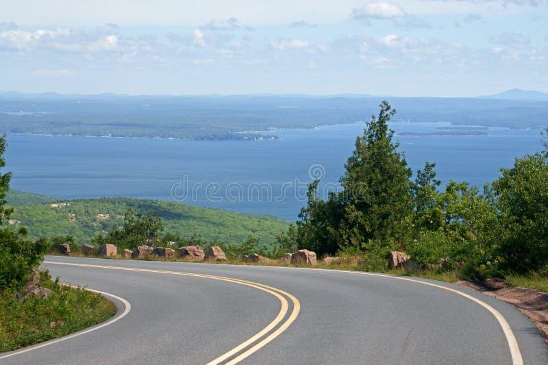 Дорога к национальному парку Acadia на горе Кадиллака стоковое изображение rf