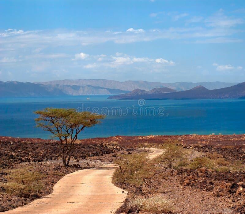 Дорога к озеру, Кении стоковые изображения
