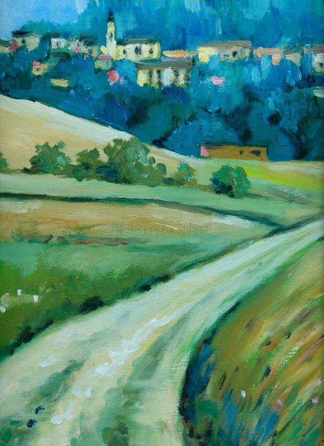 дорога к селу иллюстрация штока