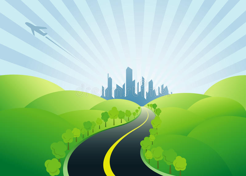 Дорога к урбанскому городу бесплатная иллюстрация