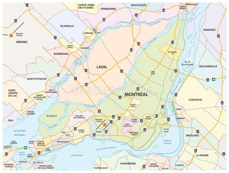 Дорога Монреаля и административная карта иллюстрация штока
