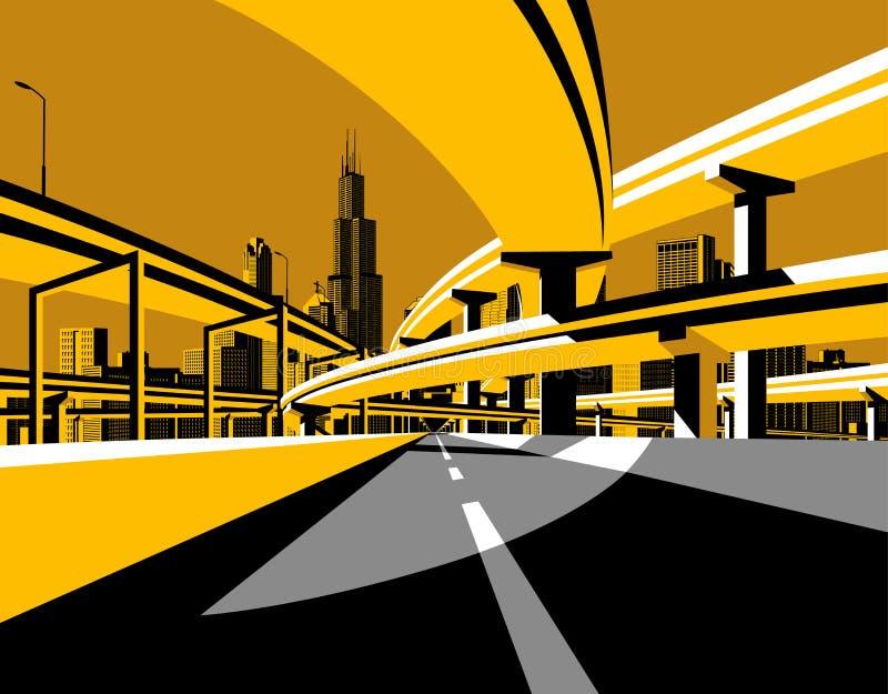 Дорога моста шоссе и горизонт города в плоском стиле бесплатная иллюстрация