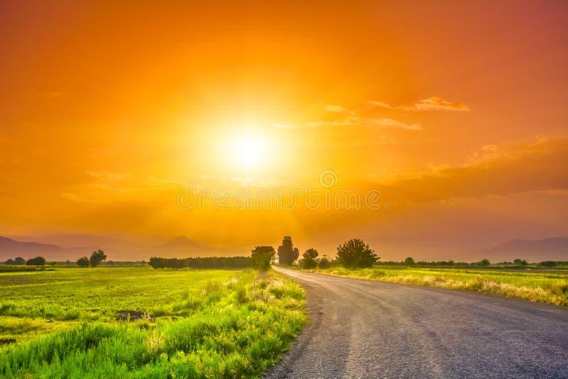 Дорога на луге с красивым небом захода солнца стоковая фотография rf