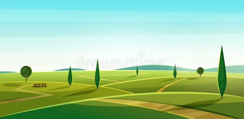 Дорога на холмах Ландшафт ЛЕТА Сельский взгляд долины Красивые зеленые поля с и луг, горы и голубое небо иллюстрация вектора
