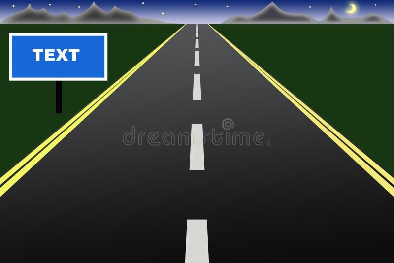 дорога ночи к иллюстрация вектора