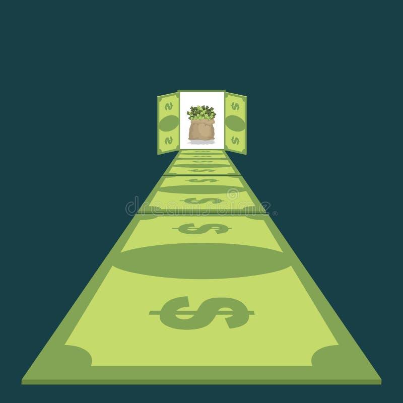 Дорога долларов Путь к процветанию тропа денег сумка наличных денег бесплатная иллюстрация