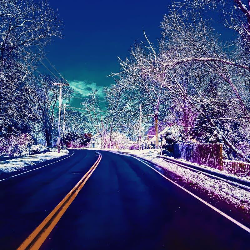 Дорога, перемещение, снег стоковая фотография