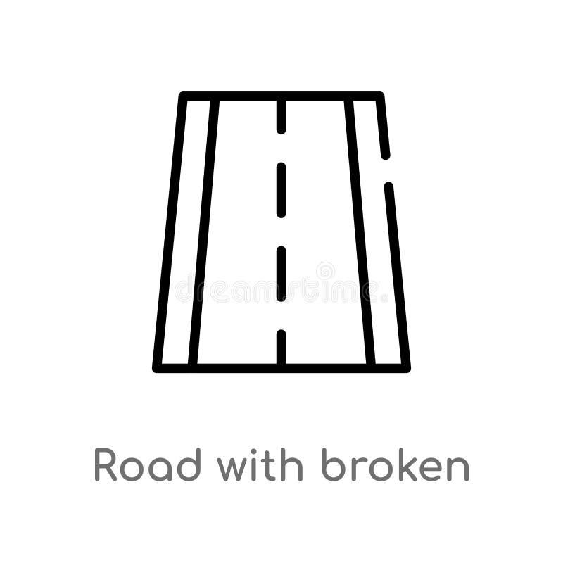 дорога плана со значком вектора ломанных линий изолированная черная простая линия иллюстрация элемента от концепции перехода edit бесплатная иллюстрация