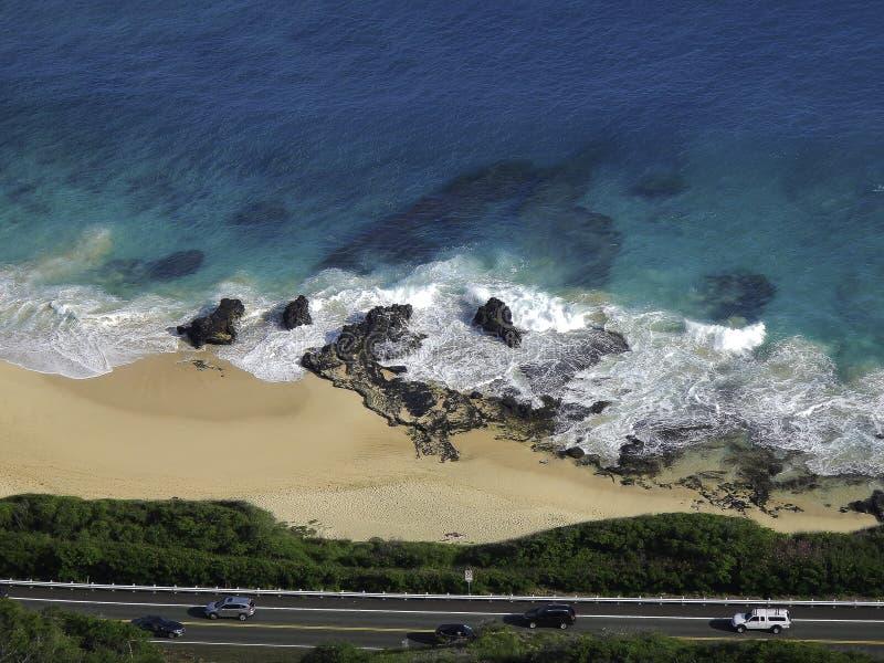 Дорога, пляж, океан стоковое изображение rf
