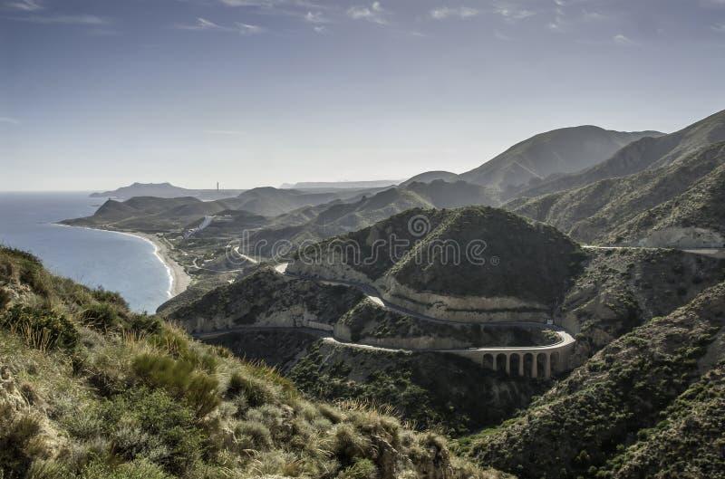 Дорога побережья, Mojacar к Carboneras стоковые изображения