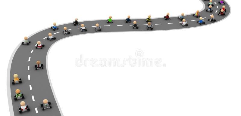 дорога привода толпы шаржа бесплатная иллюстрация