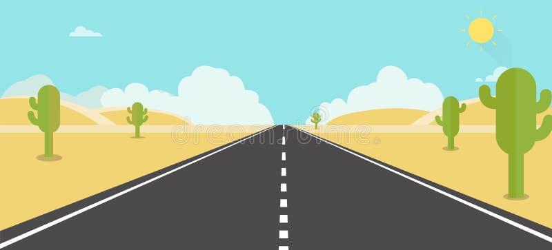 Дорога пустыни вокруг с кактусом Пустыня природы с небом иллюстрация вектора