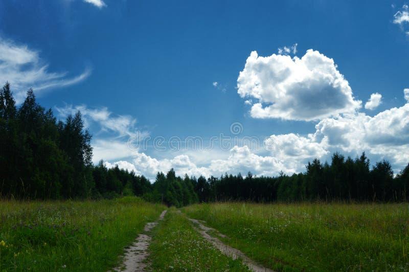 Дорога солнечного дня к стране стоковое изображение rf