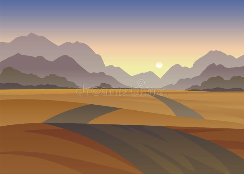 Дорога среди холмов в пустыне r иллюстрация штока