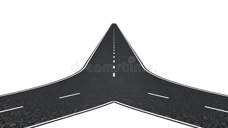 Дорога с 2 путями иллюстрация вектора