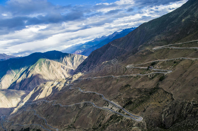 Дорога 318 Тибет, Китай стоковое изображение