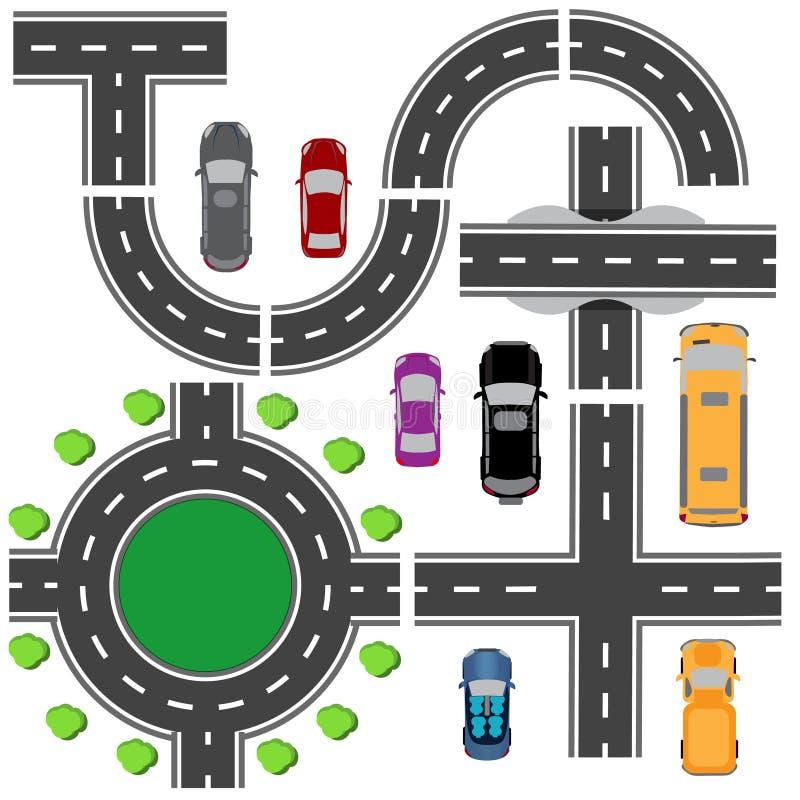 Дорога установленная для конструировать пересечения движения Пересечения различных дорог Циркуляция карусели Транспорт иллюстрация вектора