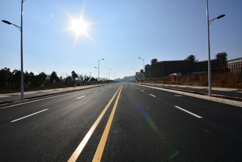 Дорога уличного фонаря стоковая фотография rf