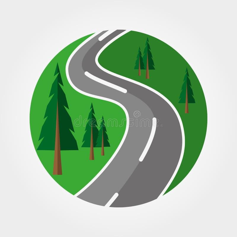 Дорога через логотип леса badged бесплатная иллюстрация