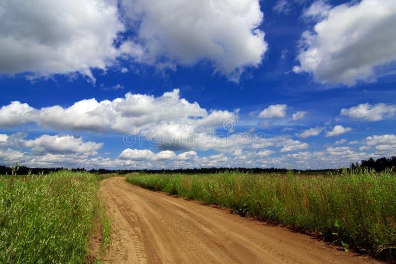 Дорога через поле под красивым небом в облаках стоковые фото