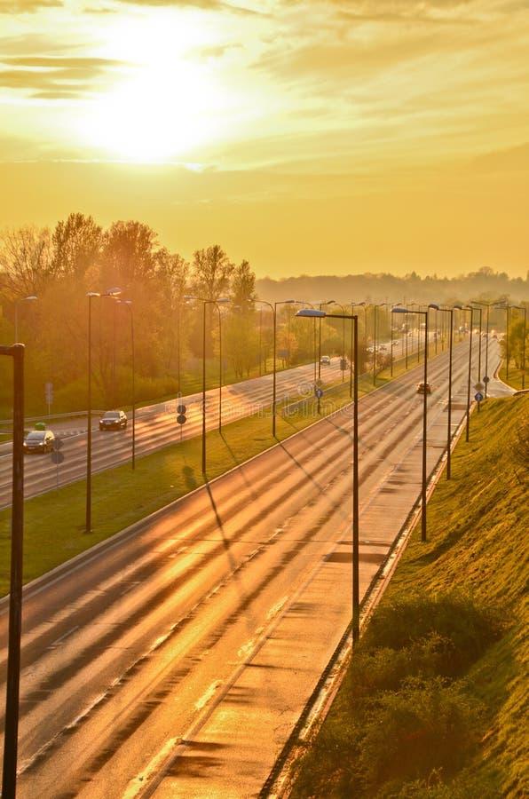 Дорога шоссе в городе стоковое фото