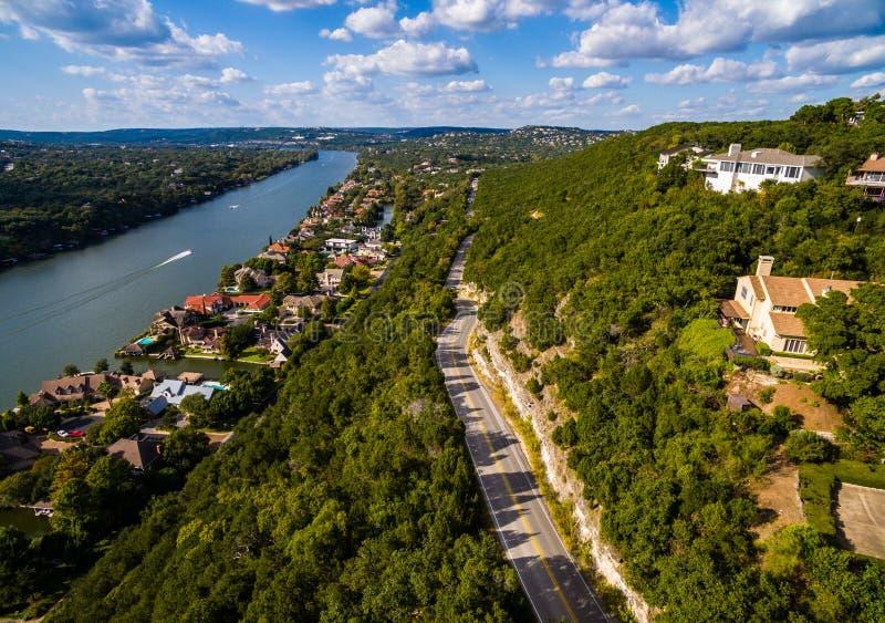 Дорога Bonnell держателя страны холма Техаса к антенне Техаса над Остином стоковые фото