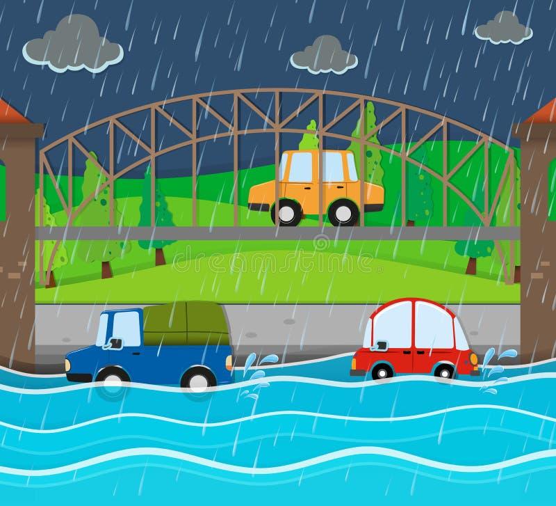 Дорога flooding на ненастной ноче иллюстрация вектора