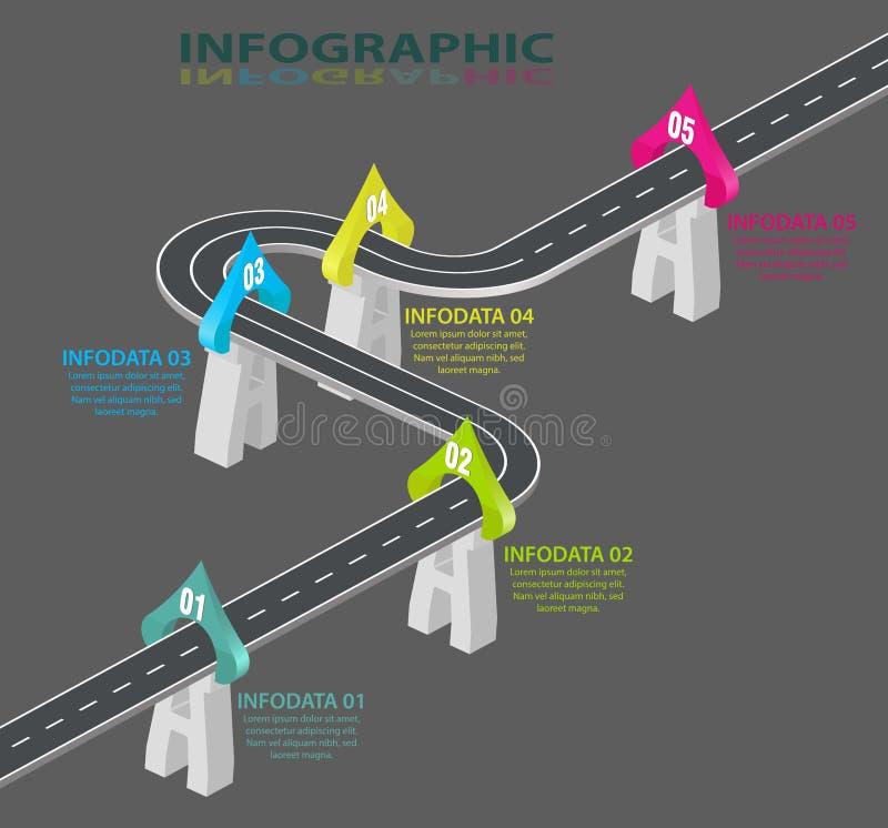 Дорога infographic Шаблон графиков информации Обматывая временная последовательность по скоростной дороги 5 шаги, стратегии или б иллюстрация штока