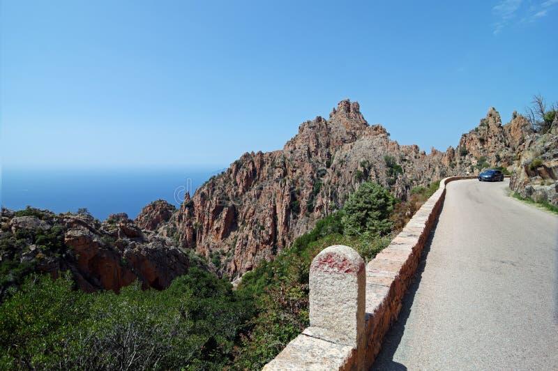 Дорога Piana в западном побережье острова Корсики стоковое изображение rf