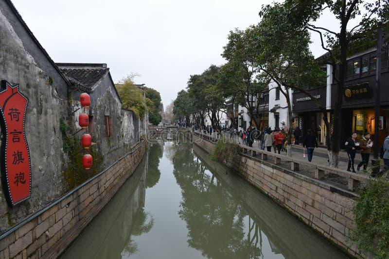 Дорога Pingjiang в Сучжоу, Цзянсу, Китае стоковые фотографии rf