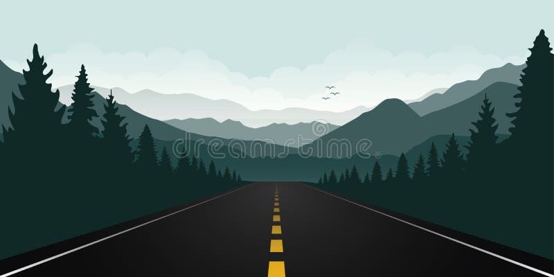 Дорога Straigth в лесе с зеленым ландшафтом горы иллюстрация вектора